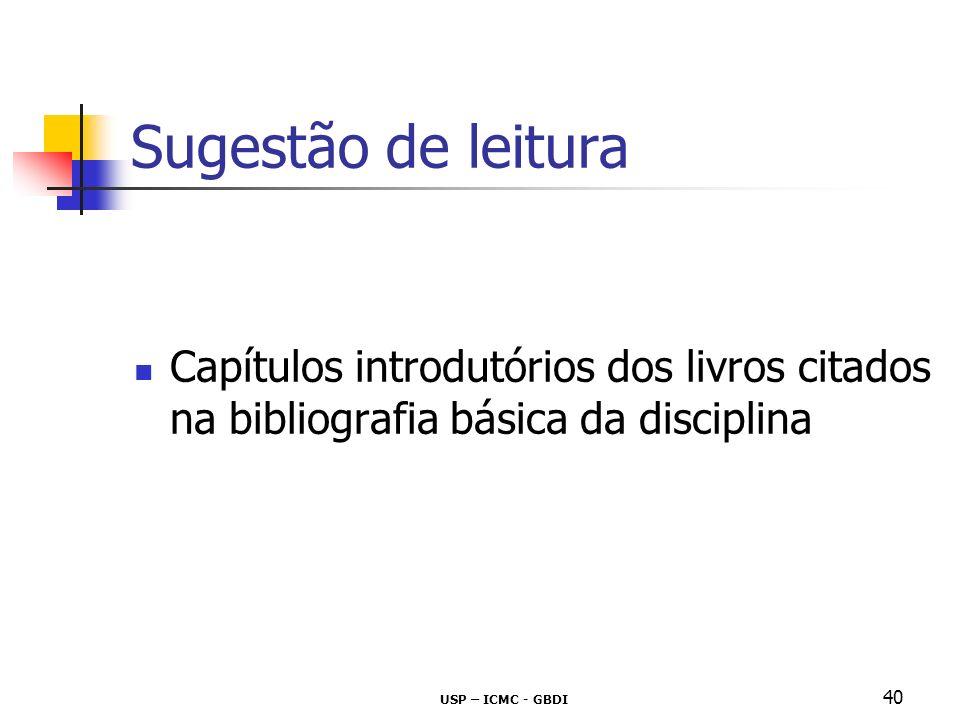 Sugestão de leitura Capítulos introdutórios dos livros citados na bibliografia básica da disciplina.