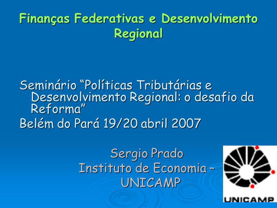 Finanças Federativas e Desenvolvimento Regional