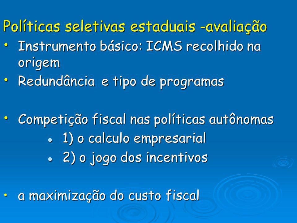 Políticas seletivas estaduais -avaliação