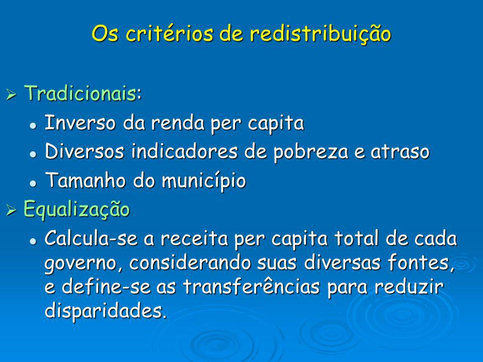 Os critérios de redistribuição