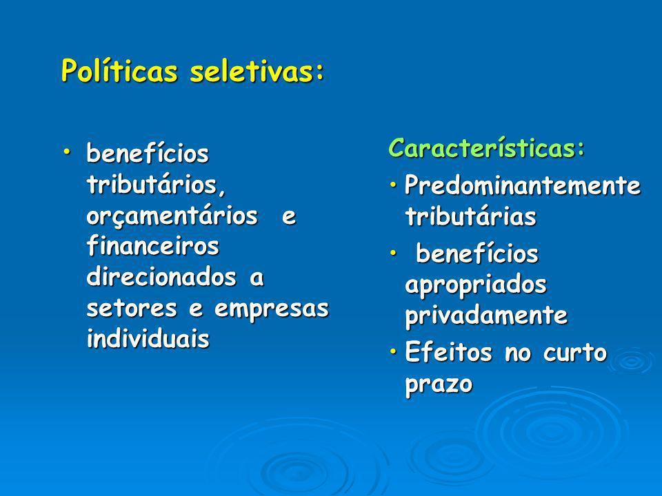 Políticas seletivas: benefícios tributários, orçamentários e financeiros direcionados a setores e empresas individuais.
