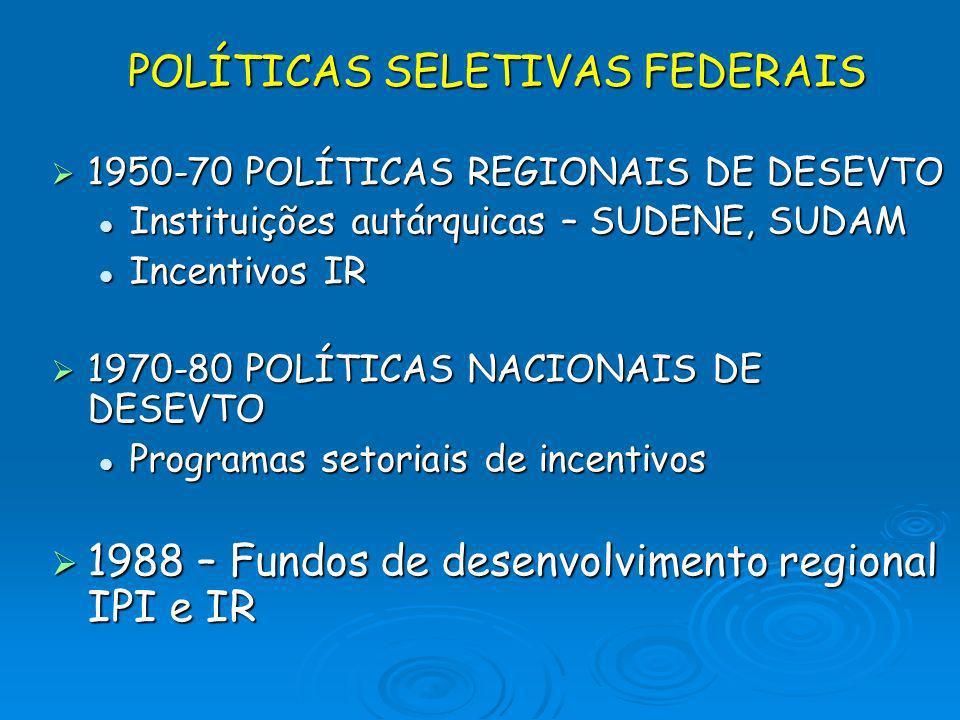 POLÍTICAS SELETIVAS FEDERAIS