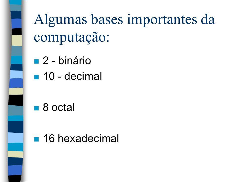 Algumas bases importantes da computação: