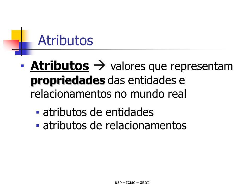 Atributos Atributos  valores que representam propriedades das entidades e relacionamentos no mundo real.