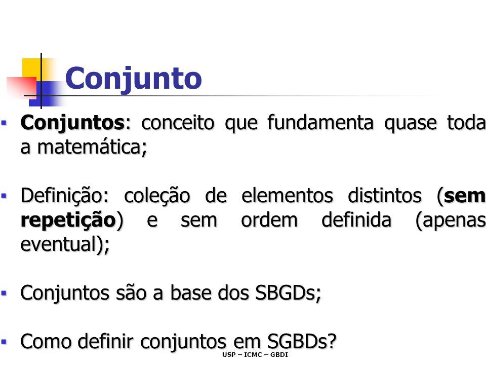 Conjunto Conjuntos: conceito que fundamenta quase toda a matemática;