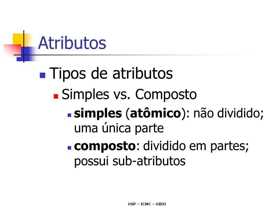 Atributos Tipos de atributos Simples vs. Composto