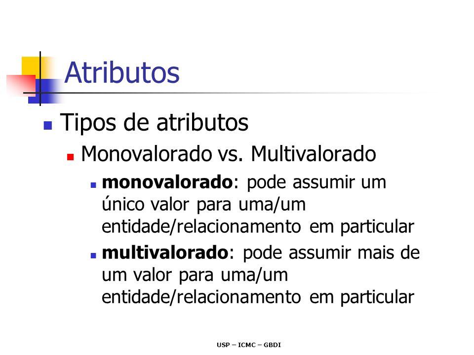 Atributos Tipos de atributos Monovalorado vs. Multivalorado