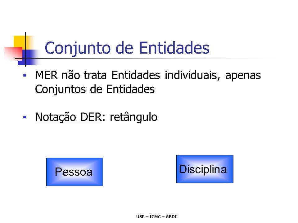Conjunto de Entidades MER não trata Entidades individuais, apenas Conjuntos de Entidades. Notação DER: retângulo.