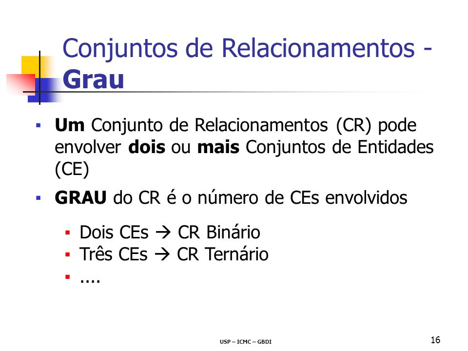 Conjuntos de Relacionamentos - Grau