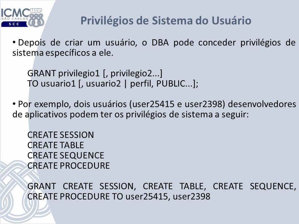 Privilégios de Sistema do Usuário