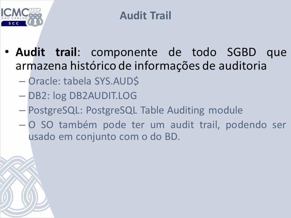 Audit Trail Audit trail: componente de todo SGBD que armazena histórico de informações de auditoria.
