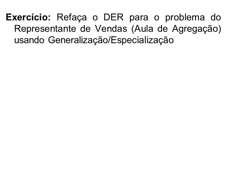Exercício: Refaça o DER para o problema do Representante de Vendas (Aula de Agregação) usando Generalização/Especialização