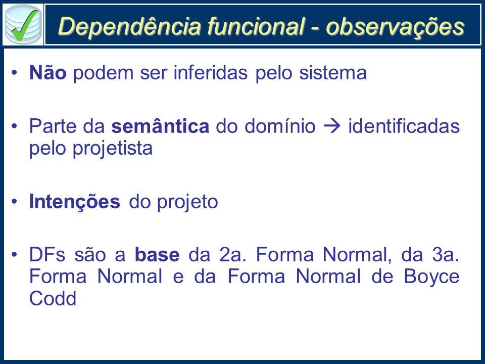 Dependência funcional - observações