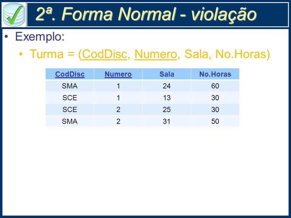 2ª. Forma Normal - violação