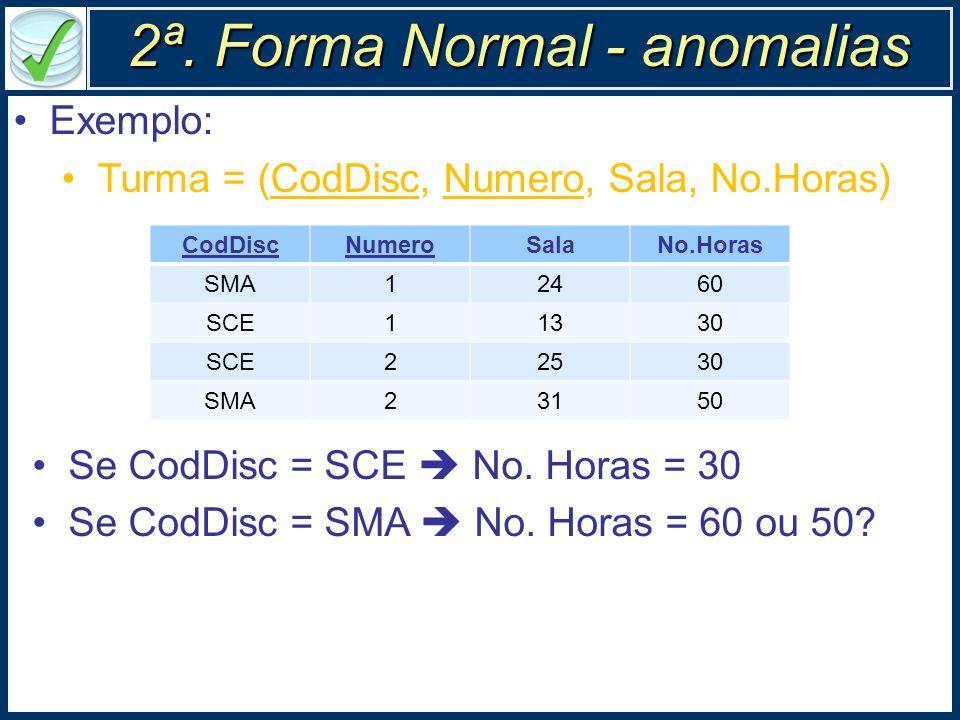 2ª. Forma Normal - anomalias