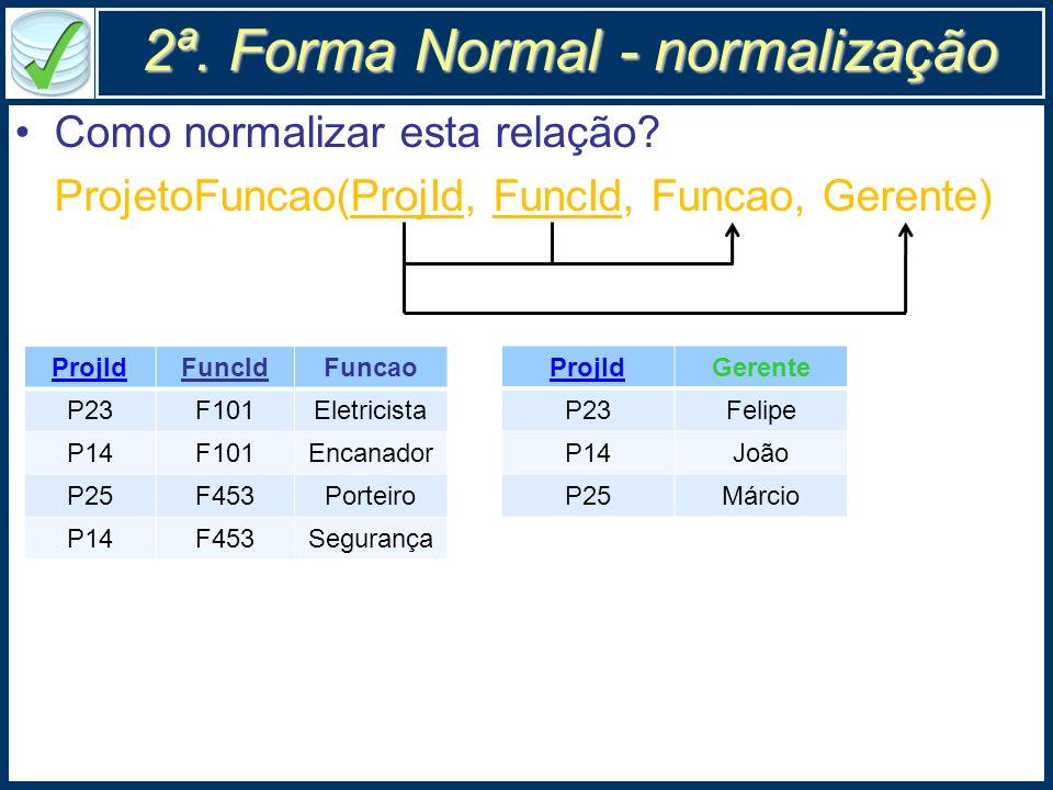 2ª. Forma Normal - normalização