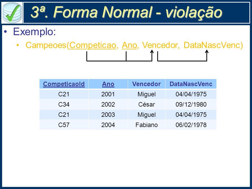 3ª. Forma Normal - violação