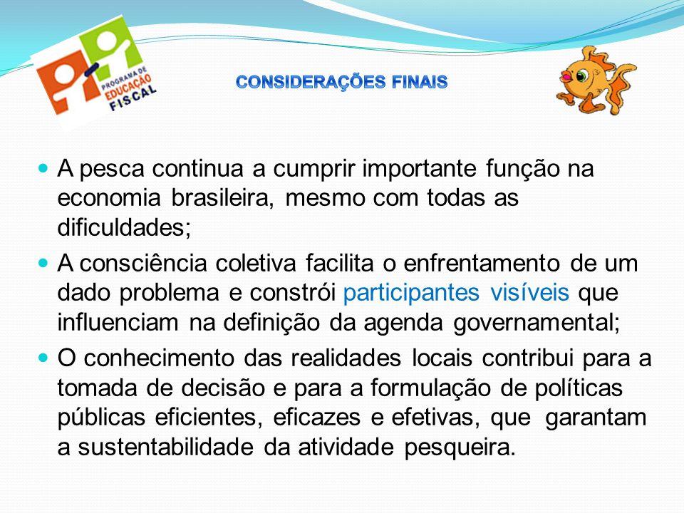 CONSIDERAÇÕES FINAIS A pesca continua a cumprir importante função na economia brasileira, mesmo com todas as dificuldades;