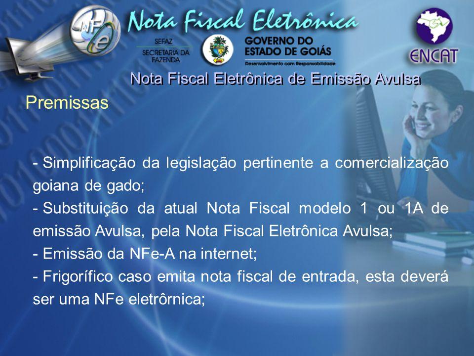 Premissas Nota Fiscal Eletrônica de Emissão Avulsa