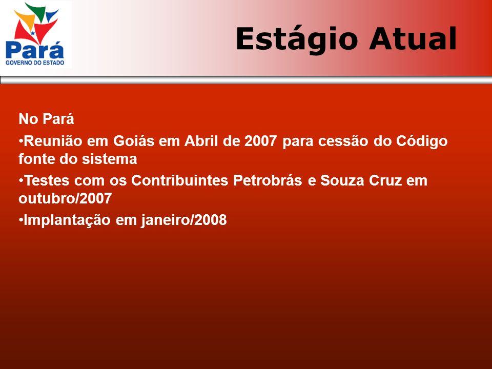 Estágio Atual No Pará. Reunião em Goiás em Abril de 2007 para cessão do Código fonte do sistema.