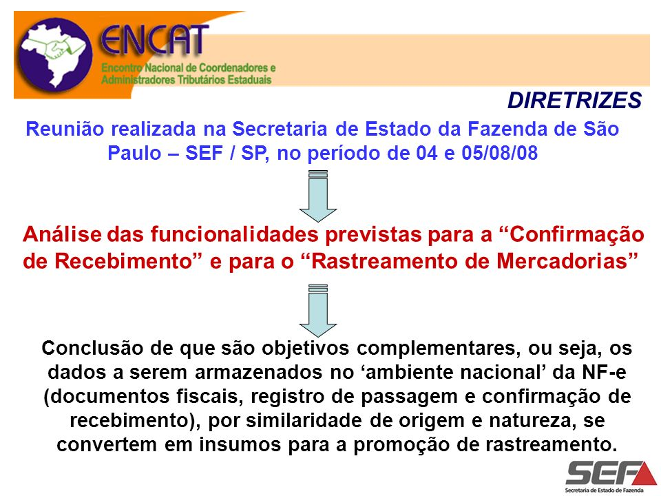 DIRETRIZES Reunião realizada na Secretaria de Estado da Fazenda de São Paulo – SEF / SP, no período de 04 e 05/08/08.