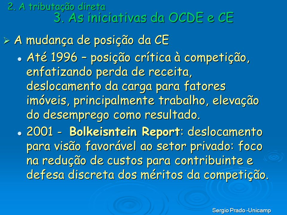3. As iniciativas da OCDE e CE