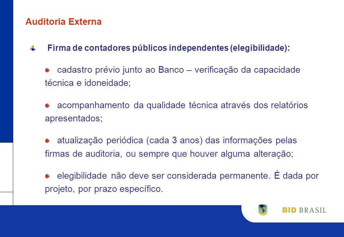 Auditoria ExternaFirma de contadores públicos independentes (elegibilidade):