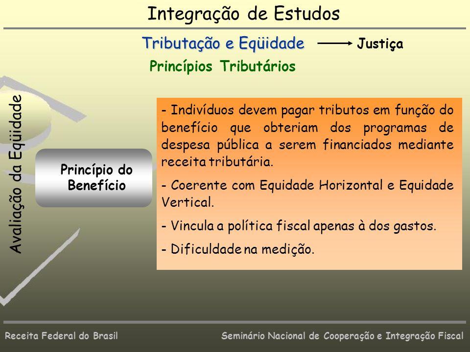 Integração de Estudos Tributação e Eqüidade Avaliação da Eqüidade