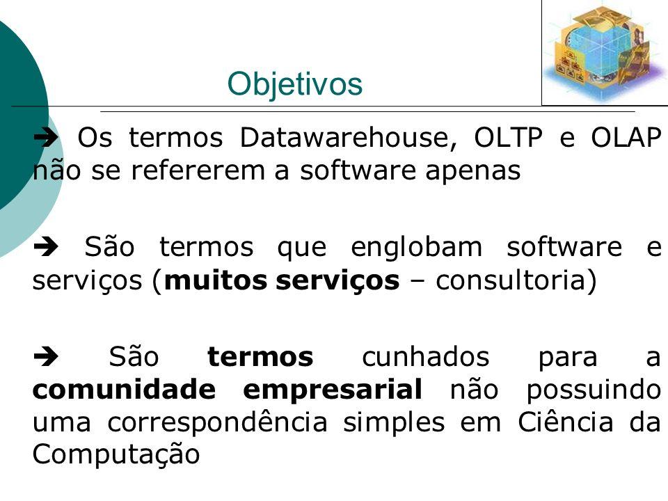 Objetivos  Os termos Datawarehouse, OLTP e OLAP não se refererem a software apenas.