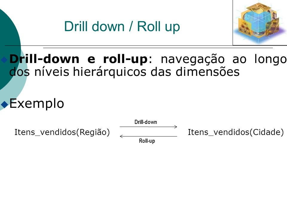 Drill down / Roll up Exemplo
