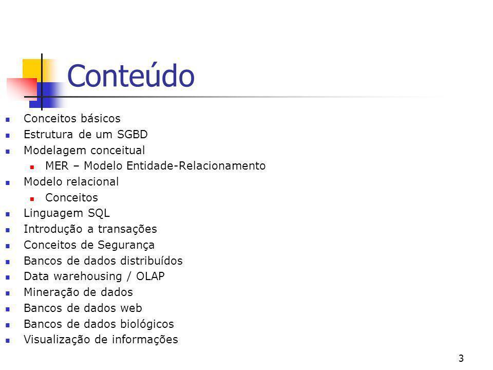 Conteúdo Conceitos básicos Estrutura de um SGBD Modelagem conceitual