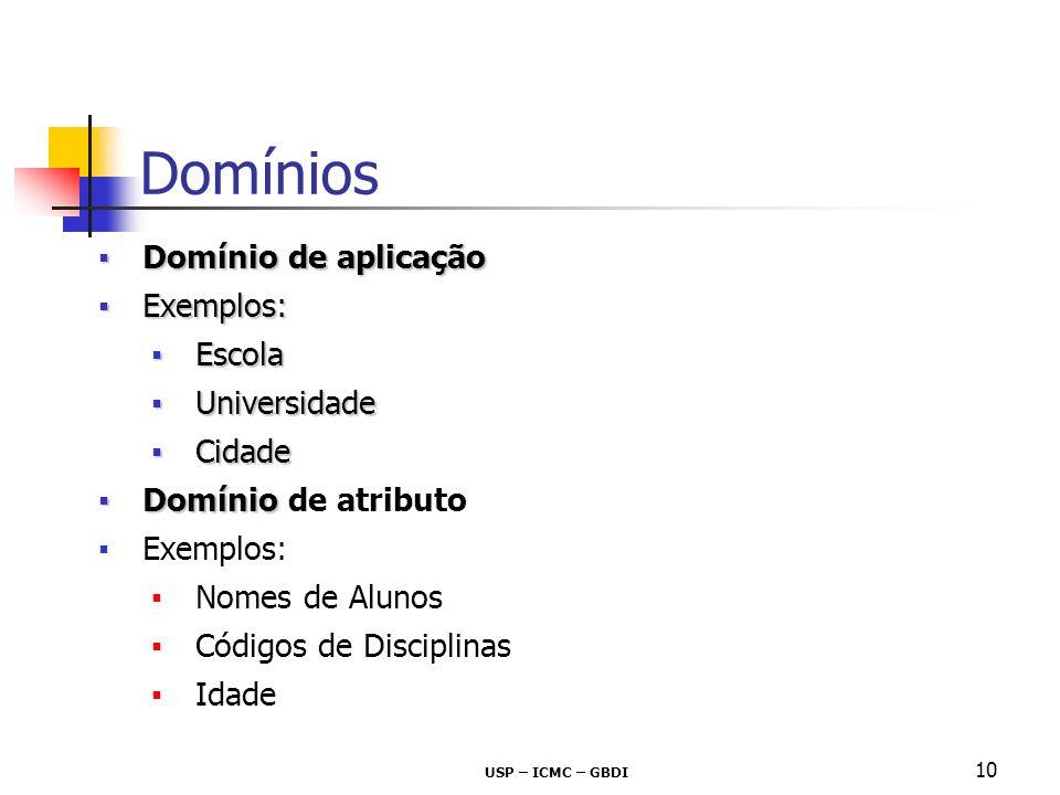 Domínios Domínio de aplicação Exemplos: Escola Universidade Cidade