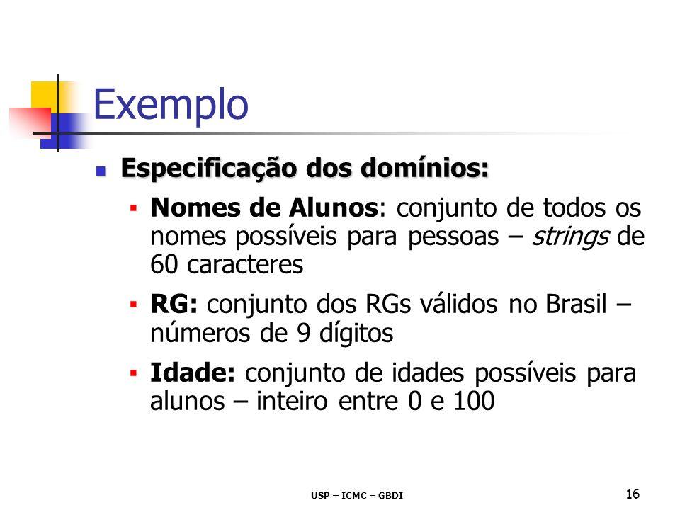Exemplo Especificação dos domínios:
