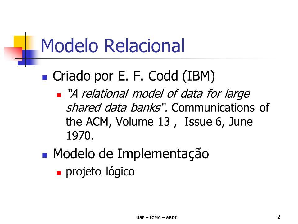 Modelo Relacional Criado por E. F. Codd (IBM) Modelo de Implementação