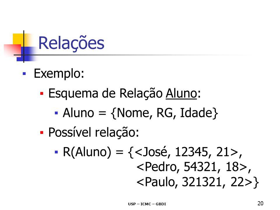Relações Exemplo: Esquema de Relação Aluno: Aluno = {Nome, RG, Idade}