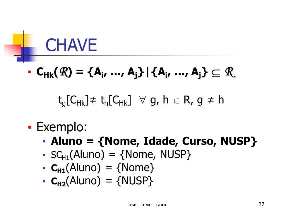 CHAVE Exemplo: CHk(R) = {Ai, ..., Aj}|{Ai, ..., Aj}  R
