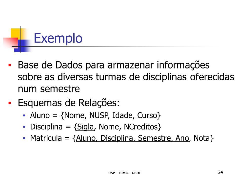 Exemplo Base de Dados para armazenar informações sobre as diversas turmas de disciplinas oferecidas num semestre.