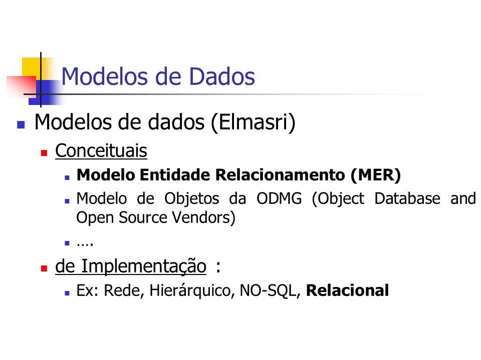 Modelos de Dados Modelos de dados (Elmasri) Conceituais