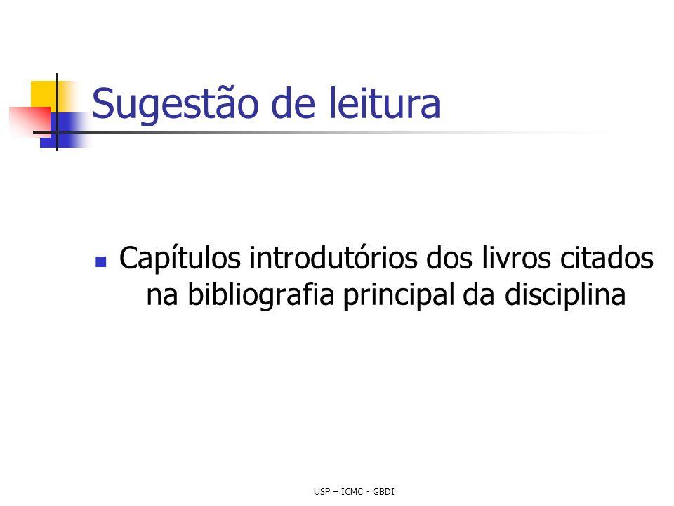 Sugestão de leitura Capítulos introdutórios dos livros citados na bibliografia principal da disciplina.
