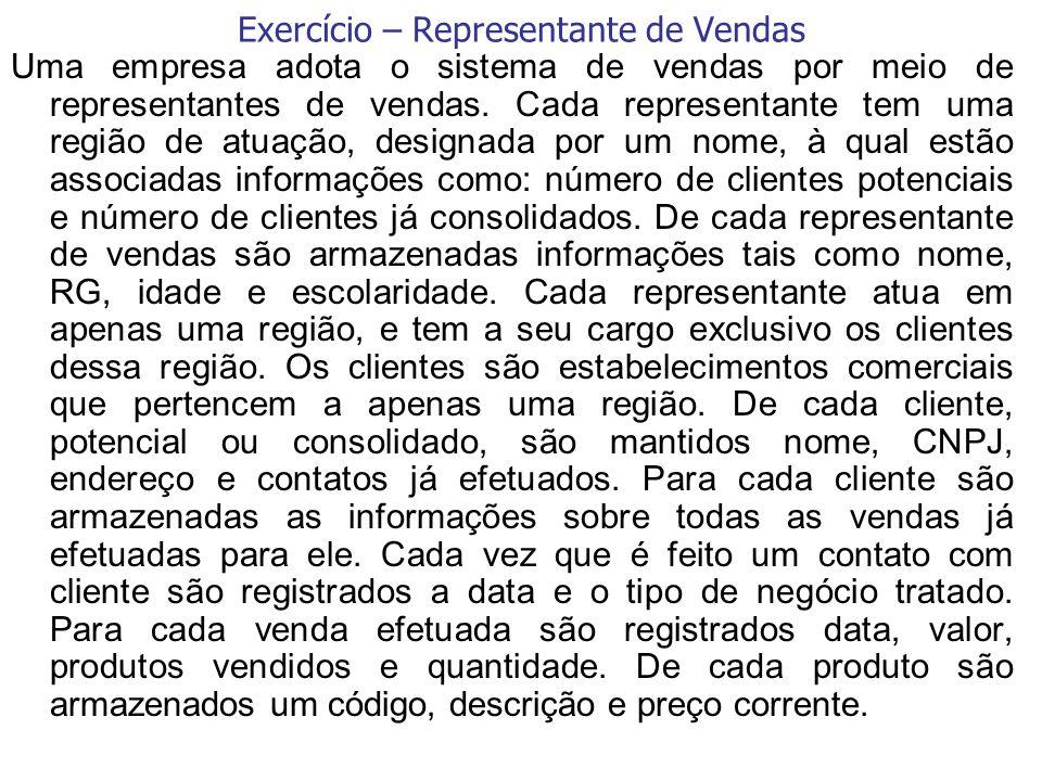 Exercício – Representante de Vendas