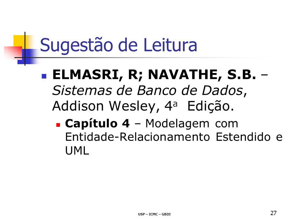 Sugestão de Leitura ELMASRI, R; NAVATHE, S.B. – Sistemas de Banco de Dados, Addison Wesley, 4a Edição.