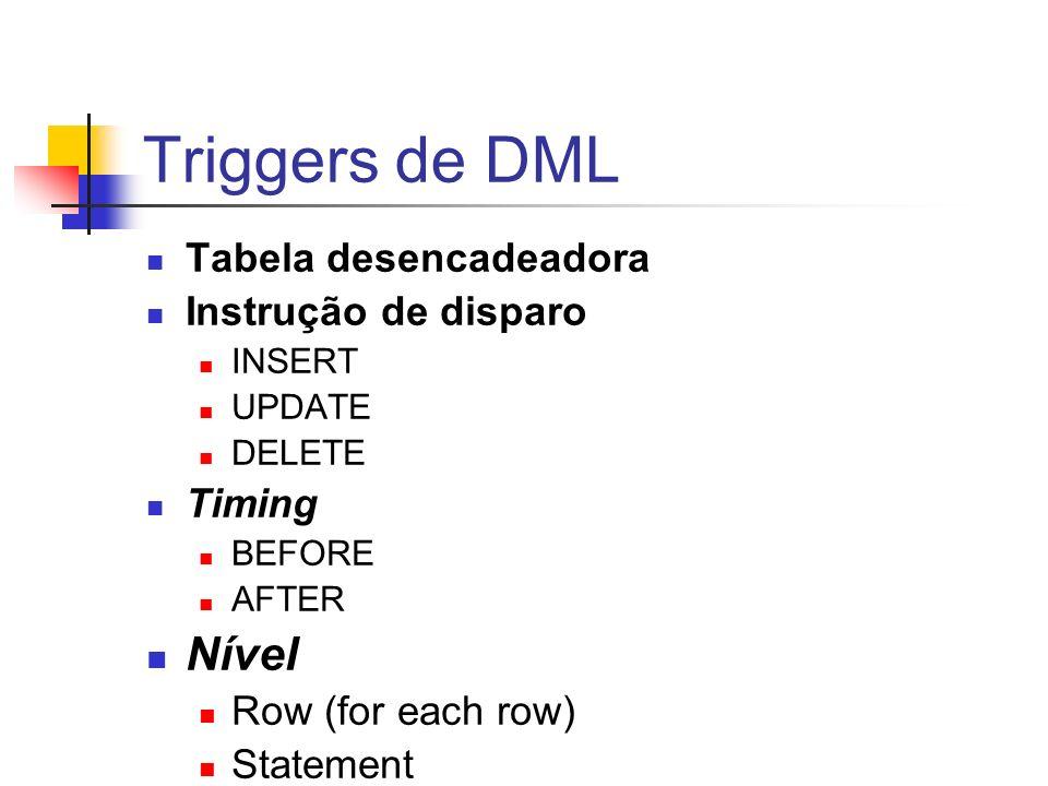 Triggers de DML Nível Tabela desencadeadora Instrução de disparo