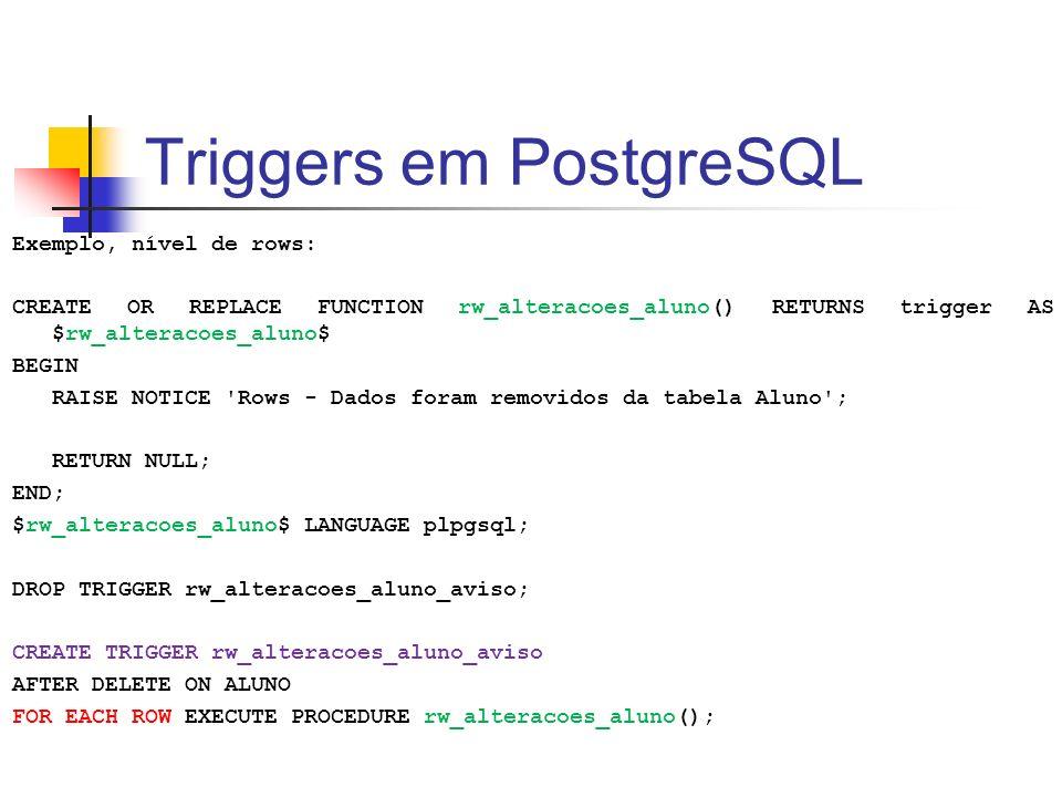 Triggers em PostgreSQL