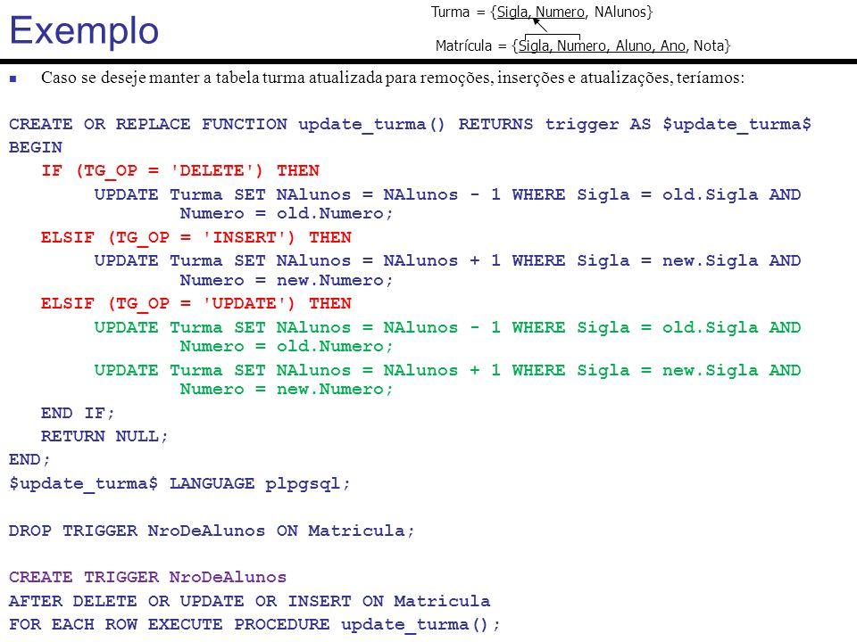 Exemplo Turma = {Sigla, Numero, NAlunos} Matrícula = {Sigla, Numero, Aluno, Ano, Nota}
