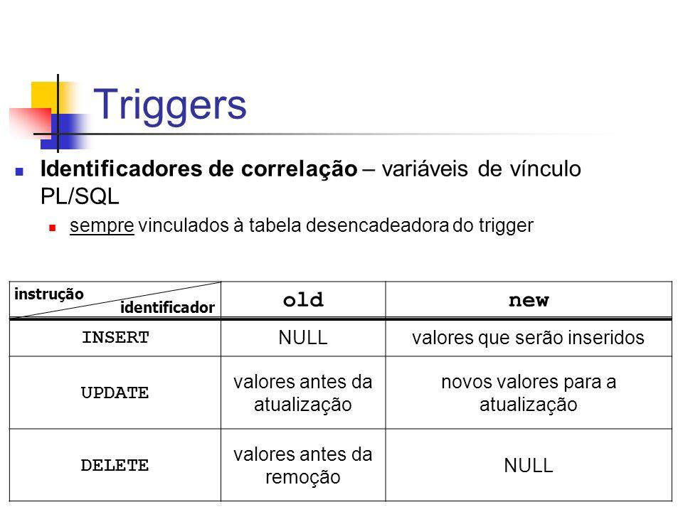 Triggers Identificadores de correlação – variáveis de vínculo PL/SQL