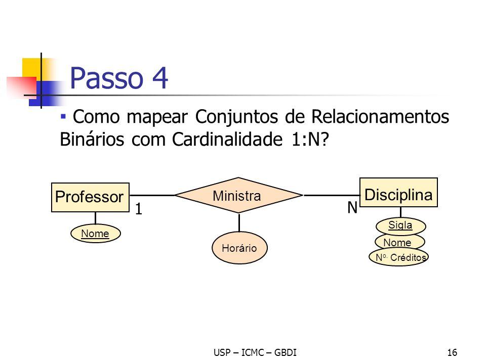 Passo 4 Como mapear Conjuntos de Relacionamentos Binários com Cardinalidade 1:N Professor. Ministra.