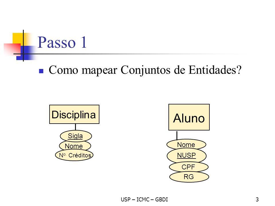 Passo 1 Como mapear Conjuntos de Entidades Aluno Disciplina Sigla