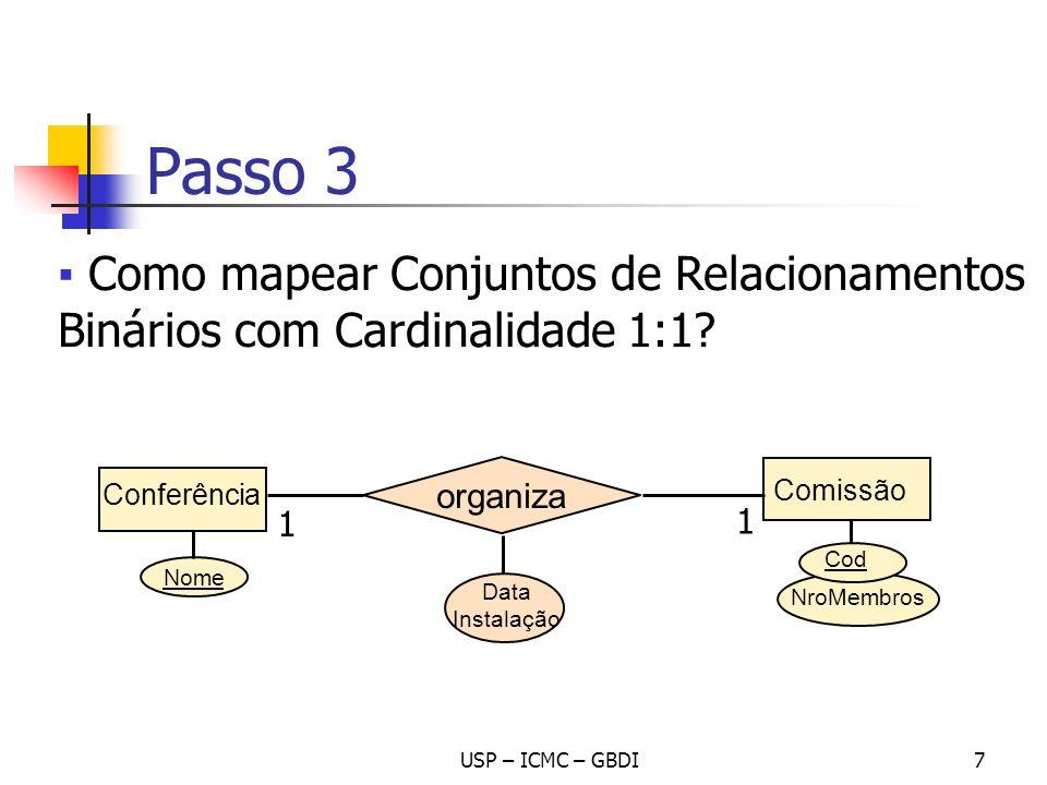 Passo 3 Como mapear Conjuntos de Relacionamentos Binários com Cardinalidade 1:1 Conferência. organiza.