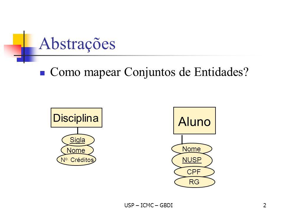 Abstrações Como mapear Conjuntos de Entidades Aluno Disciplina Sigla