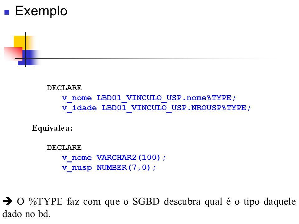 Exemplo DECLARE. v_nome LBD01_VINCULO_USP.nome%TYPE; v_idade LBD01_VINCULO_USP.NROUSP%TYPE; Equivale a:
